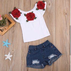 Girls Round Nexk Ruffled Rose shirt & Denim Shorts